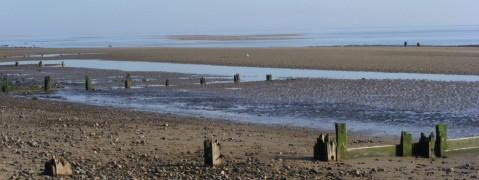 sky sea sand and groynes